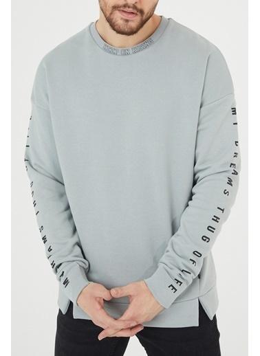 XHAN Gri Baskılı Sweatshirt 1Kxe8-44397-03 Gri